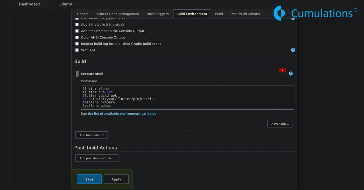 Build step configuration for APK and IPA generation